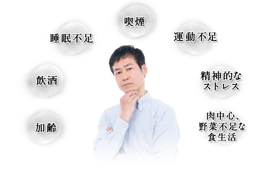 加齢 飲酒 睡眠不足 喫煙 運動不足 精神的なストレス 肉中心、野菜不足な生活