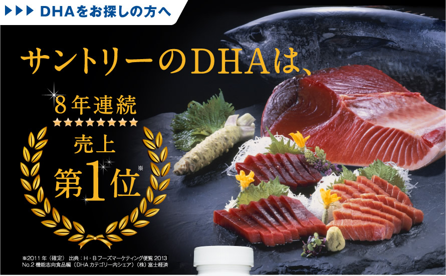 DHAをお探しの方へ サントリーのDHAは、8年連続売上第1位 ※2011年(確定) 出典:H・Bフーズマーケティング便覧2013 No.2機能志向食品編(DHAカテゴリー内シェア)(株)富士経済