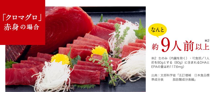 「クロマグロ」赤身の場合 なんと約9人前以上 ※2  生のみ(内臓を除く)・可食部/1人前を80gとする(80g)に含まれるDHAとEPAの量は約117.6mg)出典:文部科学省「五訂増補 日本食品標準成分表 脂肪酸成分表編」