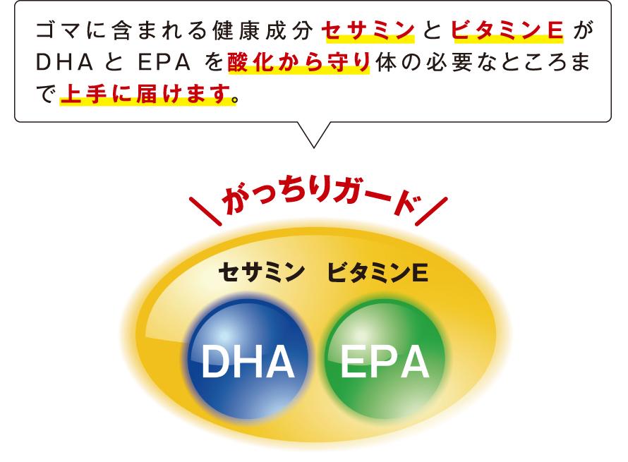 ゴマに含まれる健康成分セサミンとビタミンEがDHAとEPAを酸化から守り体の必要なところまで上手に届けます。