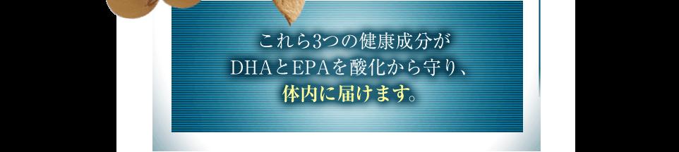 これら3つの健康成分がDHAとEPAを酸化から守り、体内に届けます。