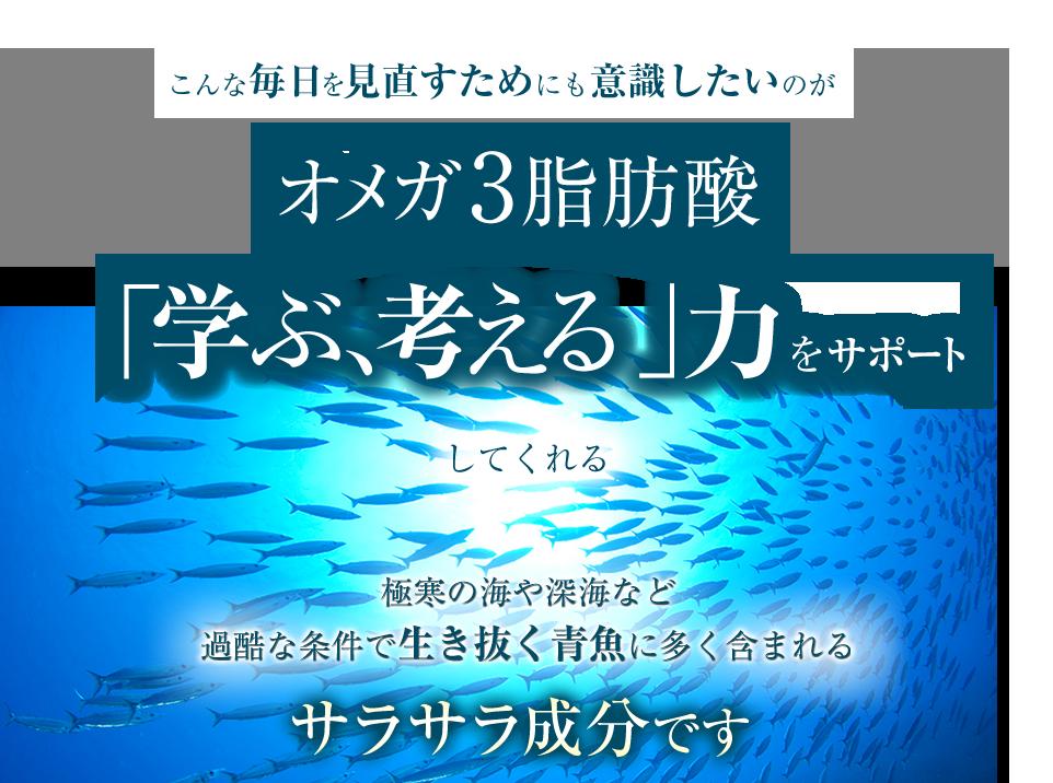 こんな毎日を見直すためにも意識したいのがオメガ3脂肪酸 「学ぶ、考える」力をサポートしてくれる極寒の海や深海など過酷な条件で生き抜く青魚に含まれるサラサラ成分です