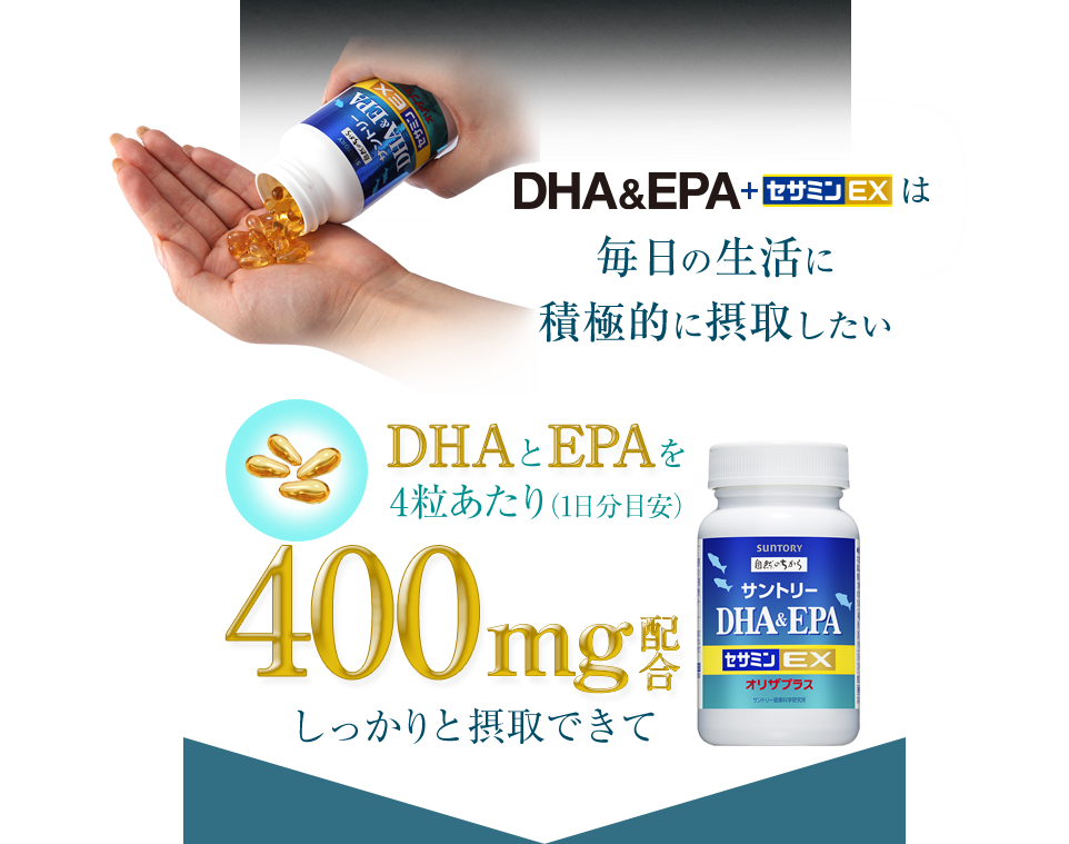 DHA&EPA+セサミンEXは毎日の生活に積極的に摂取したい DHAとEPAを4粒あたり(1日分目安)400mg配合 しっかり摂取できて