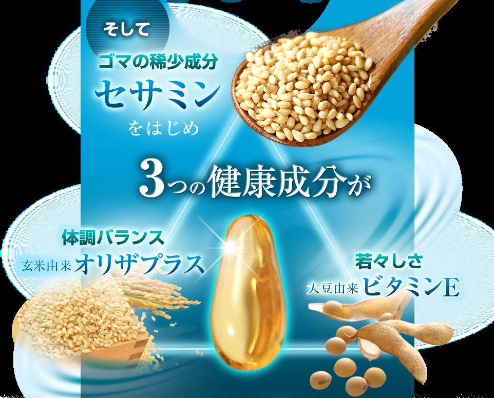 そしてゴマの稀少成分セサミンをはじめ3つの健康成分がDHAとEPAを酸化からガード 体調バランス 玄米由来 オリザプラス 若々しさ 大豆由来ビタミンE
