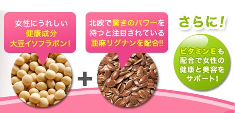 女性に嬉しい健康成分大豆イソフラボン!+北欧で驚きのパワーを持つと注目されている亜麻リグナンを配合!!さらに!ビタミンEも配合で女性の健康と美容をサポート!