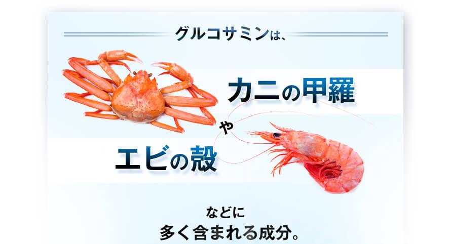 グルコサミンは、カニの甲羅やエビの殻などに多く含まれる成分。