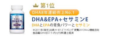 全体:第1位:DHA8年連続売上No.1※「DHA&EPA+セサミンE」DHAとEPAの青魚パワーとセサミン※2011年(確定)出典:H・Bフーズマーケティング便覧2013No.2機能志向食品編(DHAカテゴリー内シェア)(株)富士経済