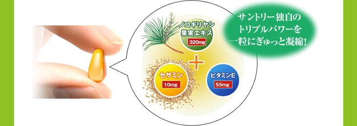 サントリー独自のトリプルパワーを一粒にぎゅっと凝縮!ノコギリヤシ果実エキス320mg+セサミン10mg+ビタミンE55mg