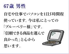 67歳 男性 自宅や仕事でパソコンを1日5時間程使っています。今は私にとっての「ブルーベリー様」です。  「信頼できる商品を選んで良かった」と心から思います。