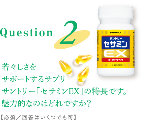 Question2:若々しさをサポートするサプリ サントリー「セサミンEX」の特長です。魅力的なのはどれですか?【必須/回答はいくつでも可】