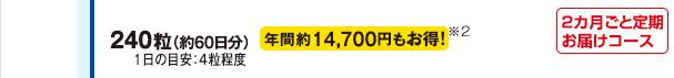 240粒(約60日分)1日の目安:4粒程度 年間約14,700円もお得!※2 2か月ごと定期お届けコース