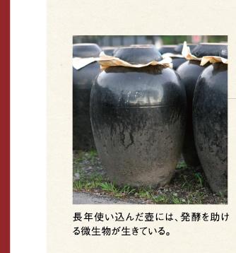 長年使い込んだ壺には、発酵を助ける微生物が生きている。
