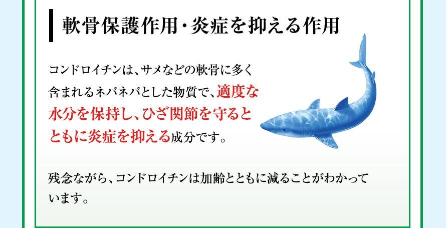 軟骨保護作用・炎症を抑える作用 コンドロイチンは、サメなどの軟骨に多く含まれるネバネバとした物質で、適度な水分を保持し、ひざ関節を守るとともに炎症を抑える成分です。残念ながら、コンドロイチンは加齢とともに減ることがわかっています。