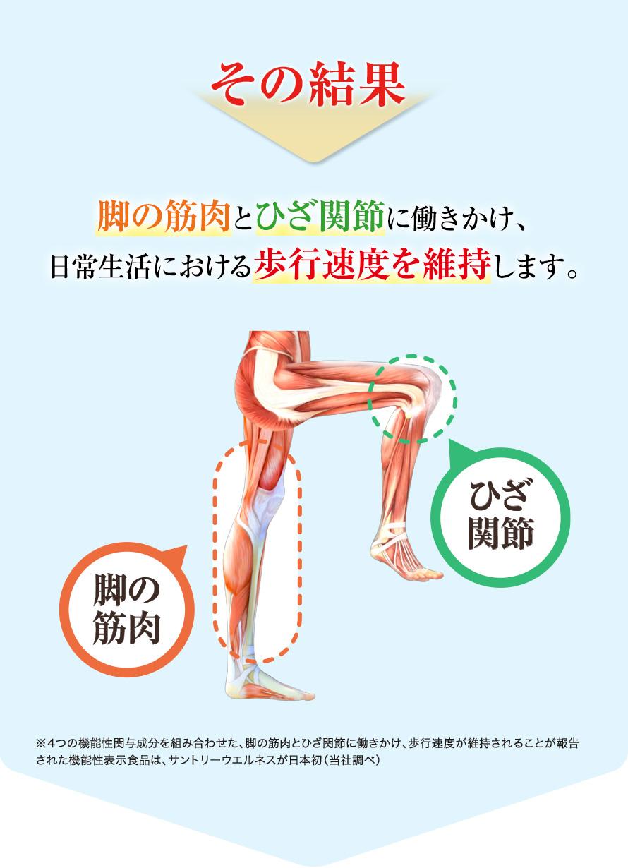 その結果脚の筋肉とひざ関節に働きかけ、日常生活における歩行速度を維持します。