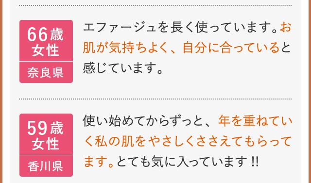 66歳女性 奈良県 エファージュを長く使っています。お肌が気持ちよく、自分に合っていると感じています。 59歳女性 香川県 使い始めてからずっと、年を重ねていく私の肌をやさしくささえてもらってます。とても気に入っています!!