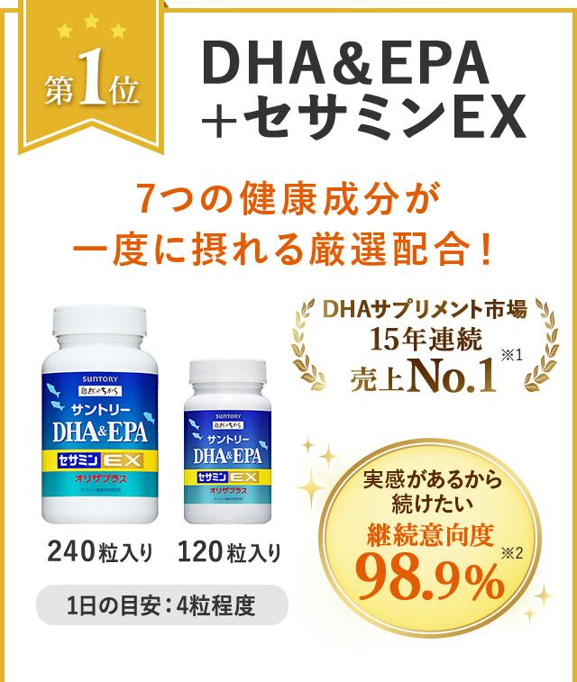 第1位 DHA&EPA+セサミンEX 7つの健康成分が一度に摂れる厳選配合! 240粒入り 120粒入り 1日の目安:4粒程度