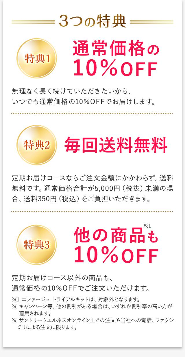 3つの特典 特典1 通常価格の10%OFF 無理なく長く続けていただきたいから、いつでも通常価格の10%OFFでお届けします。 特典2 毎回送料無料 定期お届けコースならご注文金額にかかわらず、送料無料です。通常価格合計が5,000円(税抜)未満の場合、送料350円(税込)をご負担いただきます。 特典3 他の商品※1も、通常価格の10%OFF 定期お届けコース以外の商品も、通常価格の10%OFFでご注文いただけます。 ※1 エファージュ トライアルキットは、対象外となります。 ※キャンペーン等、他の割引がある場合は、いずれか割引率の高い方が適用されます。 ※ サントリーウエルネスオンライン上での注文や当社への電話、ファクシミリによる注文に限ります。